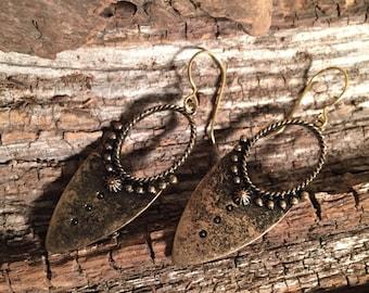 Antiqued Gold Tribal Shield Earrings