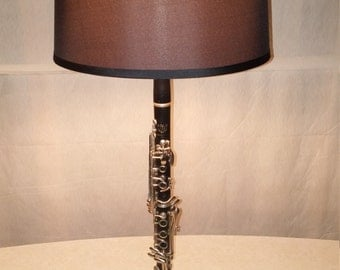 Clarinet Lamp w/Black Base & Shade