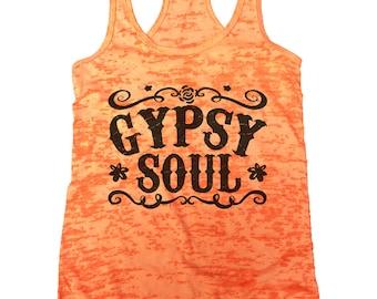 "Womens Cute Burnout Tank Top ""Gypsy Soul"" Racerback Tank - Funny Saying Tank - Gypst Shirt - Gift 1015"