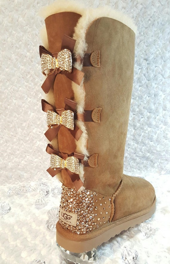 bling ugg tall bailey bow boots women 39 s custom chestnut. Black Bedroom Furniture Sets. Home Design Ideas