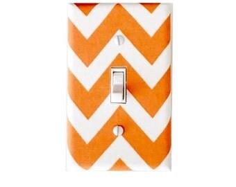 Chevron Light Switch Plate Cover -Orange and White - Baby Girl Boy Nursery Decor - Girls Room-  Tangerine-Michael Miller