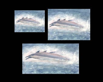 """radiance... """"Dolphins Breaching""""  -- 300 dpi prints/posters, even a 1080i desktop background - fine art watercolors for your home and office"""