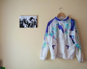 I Tactel jacket Vintage 80's I white and purple flowers I Casual I Club I tracksuit Retro I Hip Hop I size M