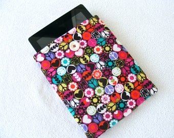 "IPad Cover Sleeve, IPad2 Cover Sleeve, Padded, Bright Colorful 70's Theme Print, 10"" x 7 1/2"""