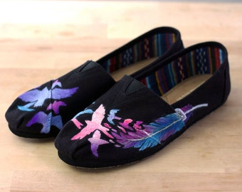 Custom Feather Turning Into Birds TOMS / BOBS Shoes- Hand Painted