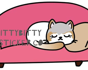 Mauly Takes a Nap - Lazy Day - Hand Drawn IttyBitty Kitty  Collection - Planner Stickers