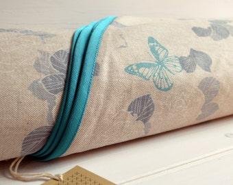 Round Tablecloth, Finished With Gros Grain Bias, Maxi Finished Diameter,  Turquoise Butterflies Allover