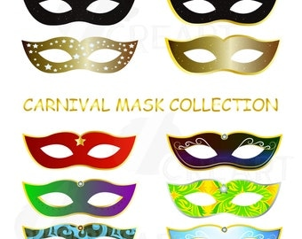 Carnival Mask collection, Mardi Gras Masks vectors for commercial or personal use (vector Ai, PNG, jpg, SVG, eps, and PDF files).