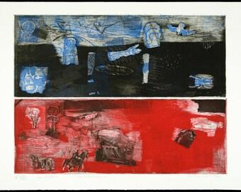 """Art from the GDR. """"Herbstweisen"""", 1987. Etching by Falko BEHRENDT"""