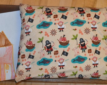 Pillow in Organic Buckwheat Shawls, Child, Sleep, Wellness, Gift, Eco-Friendly, Pirate, Handmade