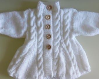 White baby coat size 3 months and bonnet