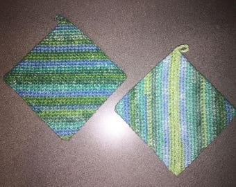 green and blue double sided crochet pot holders / hot