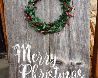 Rustic Merry Christmas Sign with Wreath