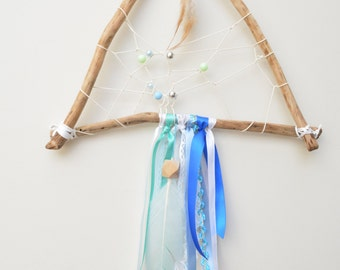 Green, White and Blue Beaded, Feather and Ribbon Triangle Dream Catcher,