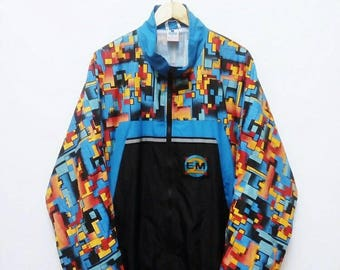 Hot Sale!!! Rare Vintage 90s RODEO Multicolour Abstract Windbreaker Jacket Hip Hop Skate Swag Extra Large Size