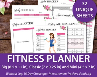 Weight Loss Planner, Happy Planner Fitness, Happy Planner Printable Pages, Fitness Journal, Workout Planner, Meal Planner, Grocery List