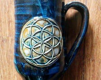 Handmade brown with drops of blues seed of life mug, large 16 ounce handmade ceramic mug,  #105