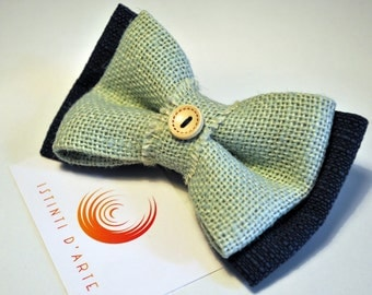 Bow tie for men with blue and green jute fabric