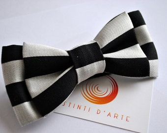 Handmade bow tie for men made up of grey and black satin fabric