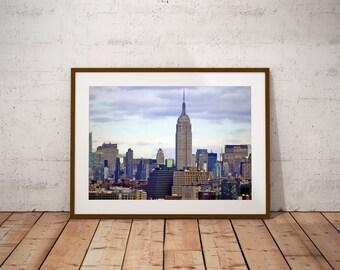 Wall Art,Photography,Manhattan,New York,NYC,Skyline,Empire State Building,Urban,Room Decor,Dorm Wall Art,Landscape,Large Art Print,Fine Art,