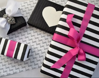 Black and White Striped - Recycled Cotton Gift Wrap