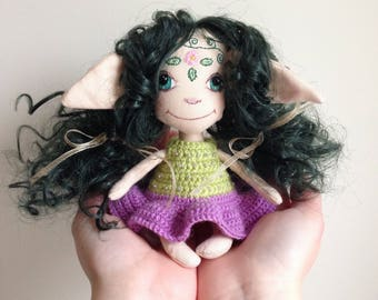 Interior doll, green forest elf, fantasy creature handmade, textile doll, painted face