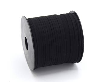 Suede cord 3mm black batch of 2/5/8/10 m