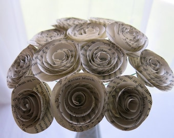 "Classic Book Page Roses on stems, Paper flowers bouquet, one dozen paper rose, 1.5"" blooms, bridal shower decoration party decor one dz 12"