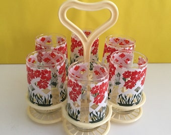 Vintage Juice Drinking Glasses & Caddy
