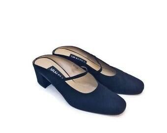 90's Black minimalist slip on mules /  by Van Eli size 7.5 / like maryam nassir zadeh