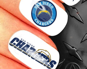 35 Nail Art Decals - NFL San Diego Chargers nail design - n28