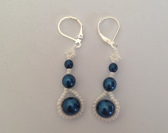Beaded earrings midnight blue glass pearls white seed beads graduating sized pearls seed beads around pearls beautiful earrings