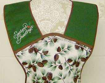 Christmas Apron / Holiday Fabric-Pine With Glitter / Cute Vintage Women's Holiday Aprons / Embroidered Apron / Hostess Apron /  Gift / #A43