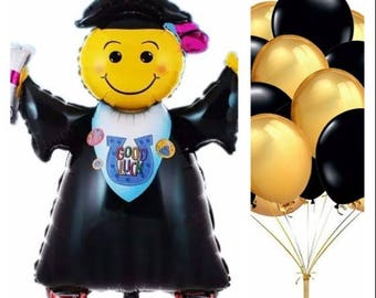 Graduation!!! Emoji Graduation Balloon Set 13 pcs