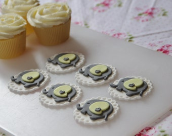 Yellow and Grey Elephant Edible Fondant Cupcake Toppers