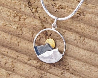 Sterling Silver Hammered Mountain And Sun Charm Necklace Adventure Camping Travel Skiing