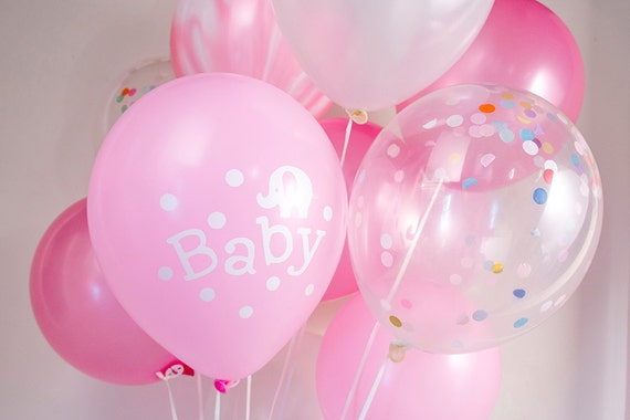 Baby Shower Balloons Free Delivery ~ Baby shower confetti balloon bouquet party girl pink
