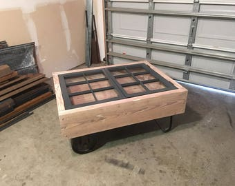 Rustic Cart and Window Coffee Table