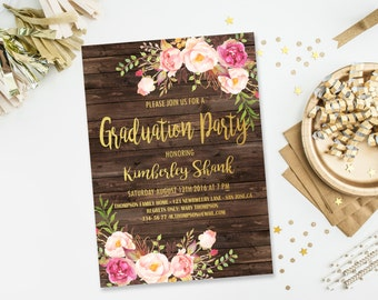 Graduation Party Invitations, College Graduation Invitation, High School Graduation Party Invitation, Boho Flower Graduation Party Invite