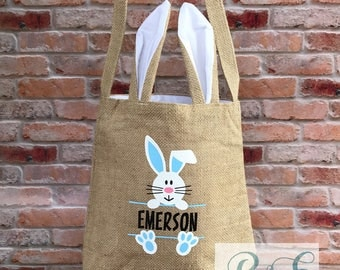 Custom Burlap Easter Bunny Bag, Easter atote, Easter Basket