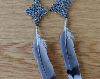 Feather earrings with filigree pendants