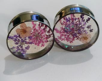 "Real Flower Plugs BrightT PINK and PURPLE with Glitter HANDMADE Guages 0g (8mm) to 2"" (51mm) single flare or double flare sold in pairs"