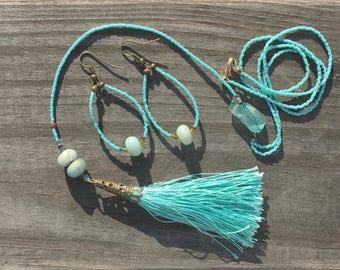 Tassel necklace, Amazonite, sea glass, Boho, Bohemian
