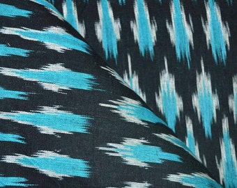 Black and Skyblue Ikat Print Fabric