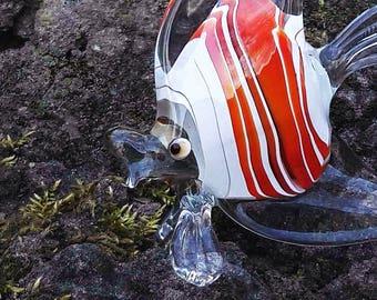 Orange glass fish figurine animals glass blowing sea fish miniature art glass fish toys murano animals tiny small figure glass sculpture gif