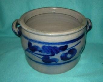 old large earthenware pot with salt glaze - vintage-24 cm