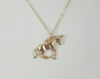 Gold Unicorn Necklace, Unicorn Jewelry