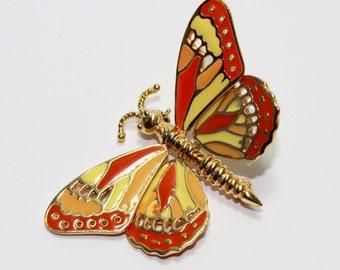 Vintage Enamel Butterfly Pin gold tone