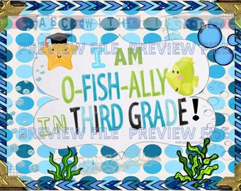 Ofishally in Third Grade-End of School Year Photo Prop Sign-Printable Last Day of Second Grade Announcement-Kids' Graduation Gift-Scrapbook
