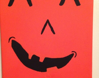 Silly Monster Face Jack O'lantern Painting